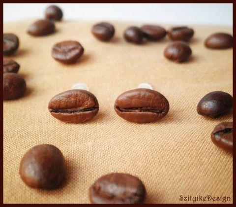 Kávészem fülbevaló, Ékszer, óra, Fülbevaló, Meska