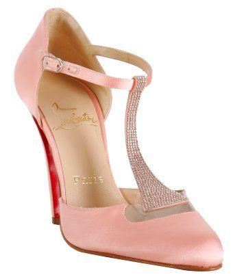 Christian Louboutin Light Pink Satin \u0027Caberet\u0027 Rhinestone T-Strap Pumps  $890 #CL � Louboutin PumpsChristian Louboutin ShoesLuxury ...