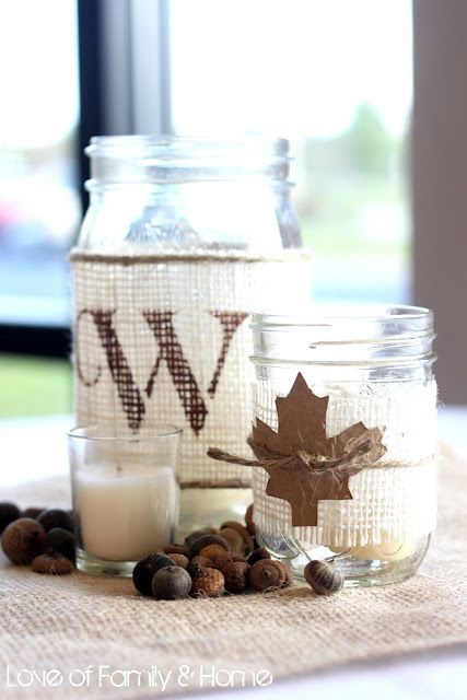 diy rustic decor - glass jars and burlap monogrammed with candles inside or flowers