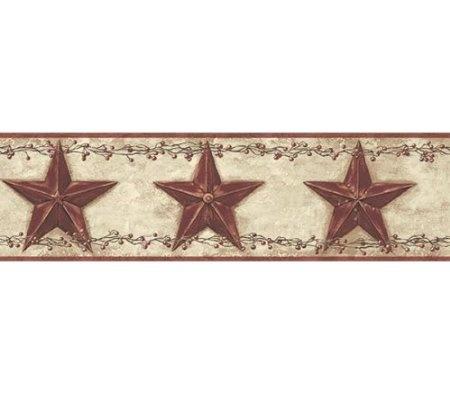 3 Rolls of Country Barn Stars Wallpaper Border - Rusty Tin Primitive Berry Garland Berries: Amazon.com: Home Improvement