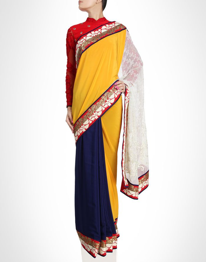 Red, yellow and blue sari with intricate borders. Shop Now: www.kimaya.in