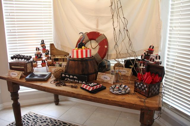 Pirates and Mermaids Birthday Party Ideas | Photo 33 of 45 | Catch My Party Love the rope in the back