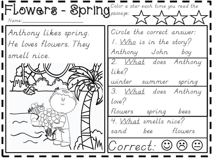 22 reading comprehension passages about seasons, character