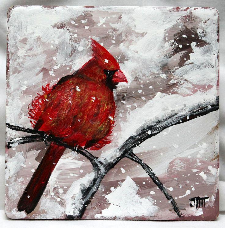 cardinal  cardinal bird  cardinal painting  acrylic