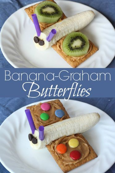 2 Simple spring snacks! Banana-Graham butterfly snacks. Cute, easy and kids will love 'em!
