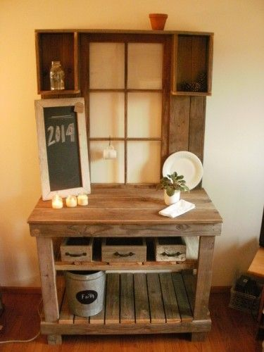 super cute potting bench with old window
