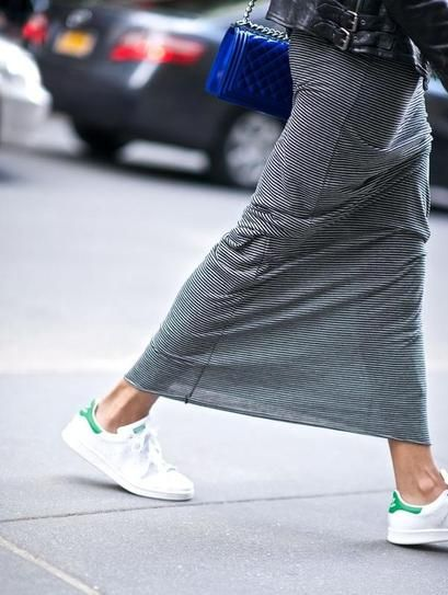 Fall Street Style: Casual gray knit maxi worn with a leather jacket, cobalt blue messenger bag and white + green Adidas sneakers