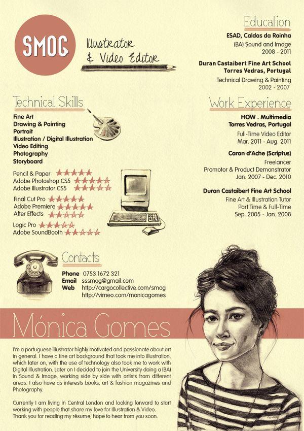 Monica Gomes SMOG Creative CV by Miguel Rato, via Behance