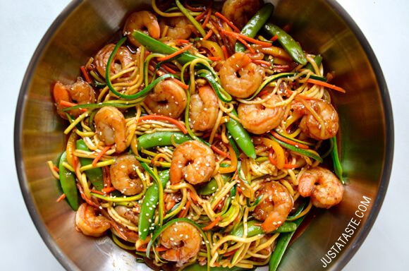 Just an idea but there would be some modifications to make it W30 approved. Asian Zucchini Noodle Stir-Fry with Shrimp recipe on justataste.com