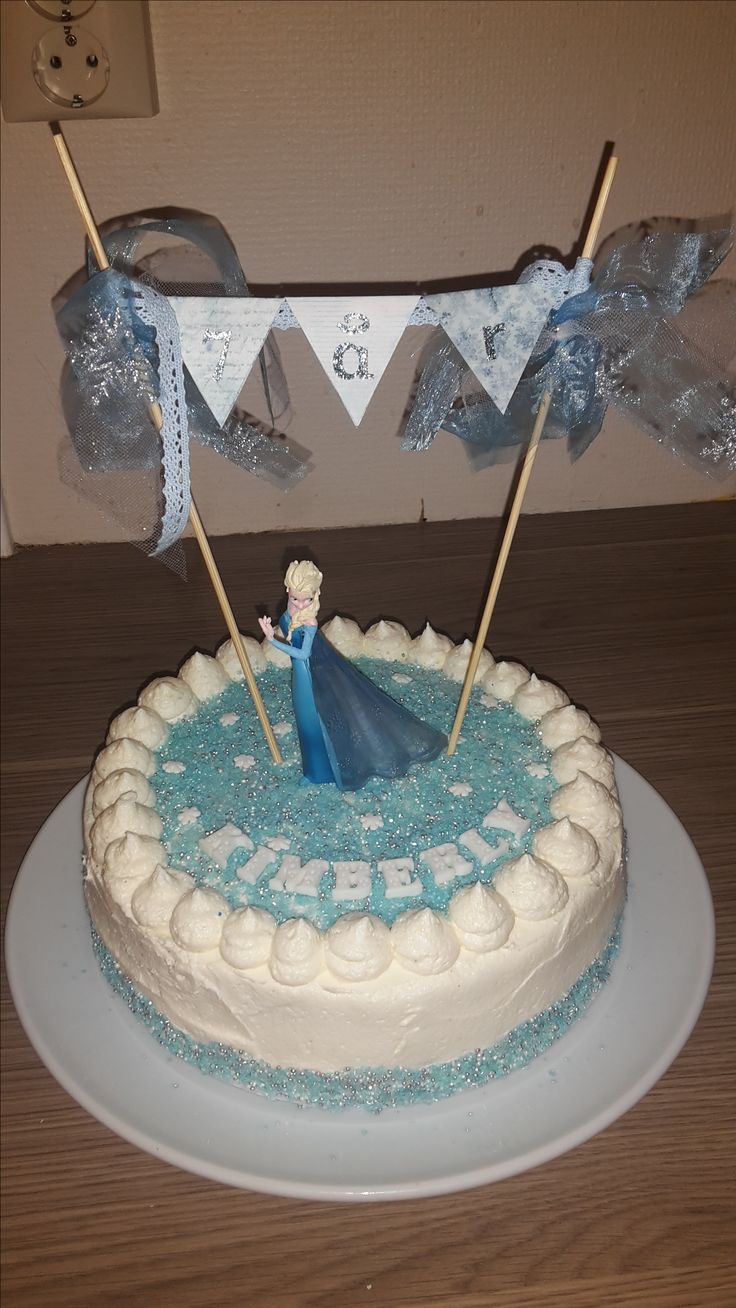 Frozen Elsa cake white buttercream sprinkles and banner