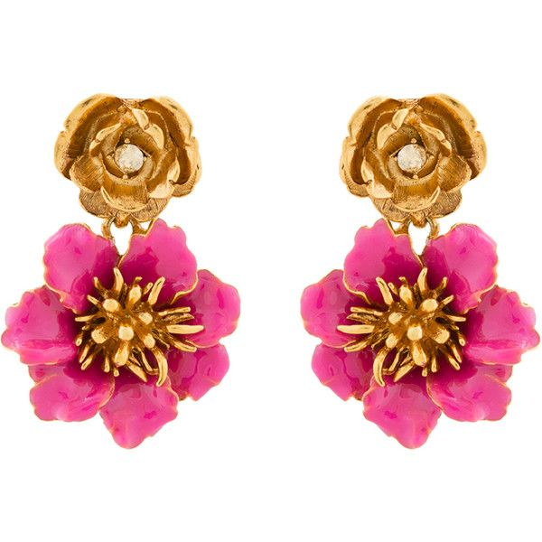 Oscar de la Renta Gilded Pink Floral Clip Earrings (6.024.505 VND) ❤ liked on Polyvore featuring jewelry, earrings, pink, swarovski crystal jewelry, pink statement earrings, flower clip on earrings, rose earrings and nickel free clip on earrings
