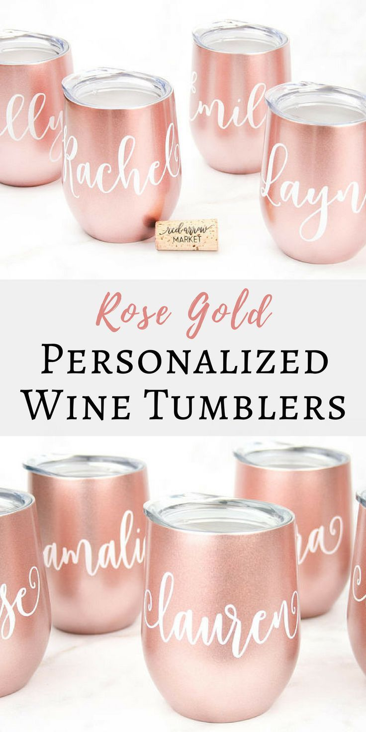 I love these! These wine tumblers would make perfect bridesmaid gifts. I love the rose gold color!   Rose Gold Personalized Wine Tumblers | Wine Lovers Gift | Wedding Party Gifts | Gift Ideas | Bridesmaid Gifts | Wine Enthusiast Gift | Rose Gold #affiliate