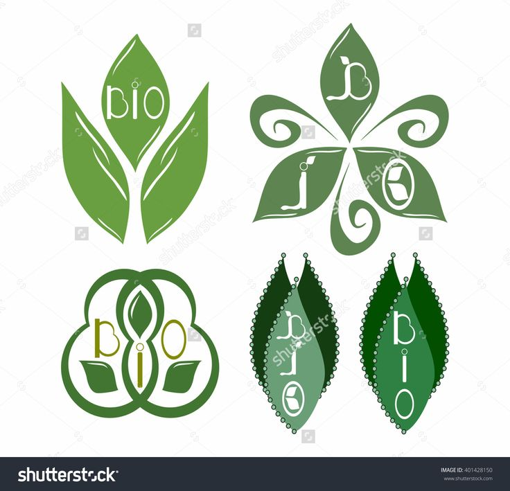 Set #bio #emblems with abstract #leafs