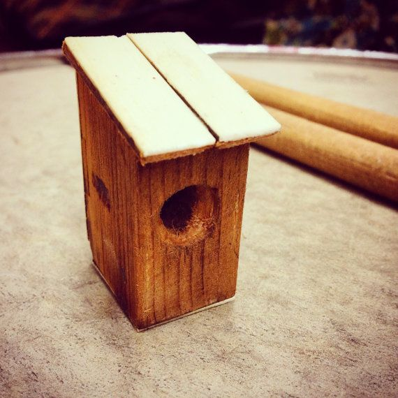 Wooden Salvage Piano Key Ornaments - teeny birdhouses by birdmouse