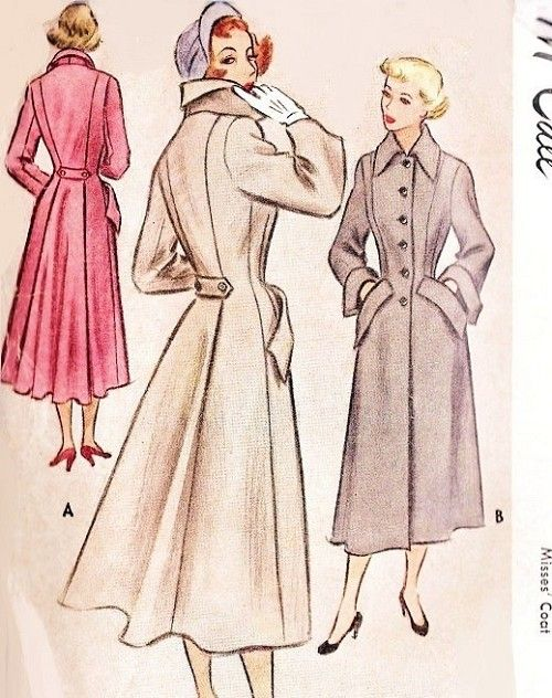 Late 40s Stunning Coat Pattern McCall 7776 High Fashion Nip In Waist Flared Back Coat Bust 34 Vintage Sewing Pattern