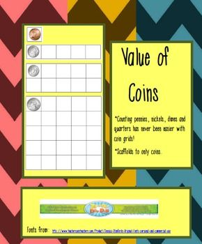 Counting grids give this lesson a hands on, successful experience! Value of Coins with Counting Coin Grids - Carol Redmond - TeachersPayTeachers.com