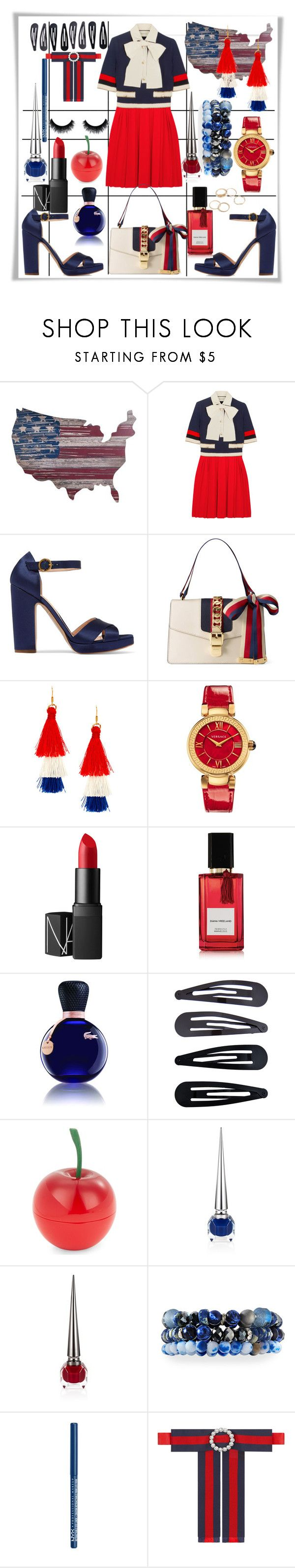"""""""Red n Blue"""" by smriti4520 ❤ liked on Polyvore featuring Gucci, Rupert Sanderson, Versace, NARS Cosmetics, Diana Vreeland Parfums, Lacoste, Accessorize, Tony Moly, Christian Louboutin and Lydell NYC"""