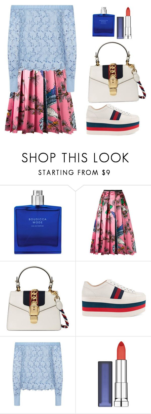"""""""Solado três cores azul, vermelho e branco"""" by jaquemel ❤ liked on Polyvore featuring Boudicca, Gucci, Robert Rodriguez and Maybelline"""