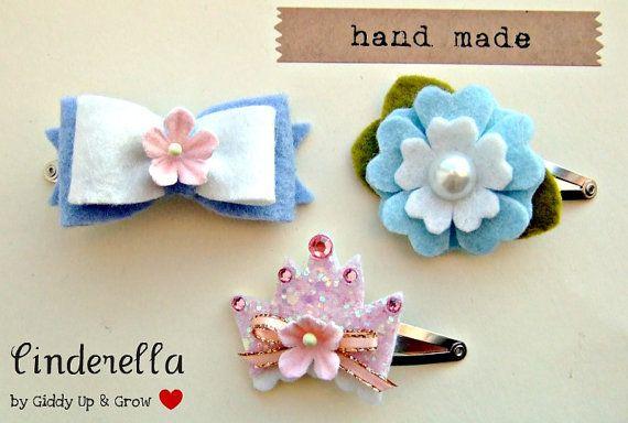 Felt Flower Hair Clip  Cinderella Inspired by giddyupandgrow, $17.50