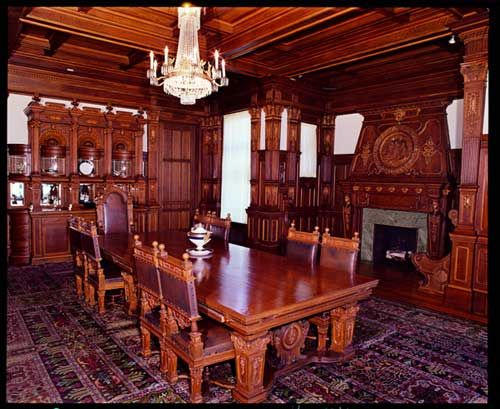 the elaborately carved turnblad mansion dining room, with original