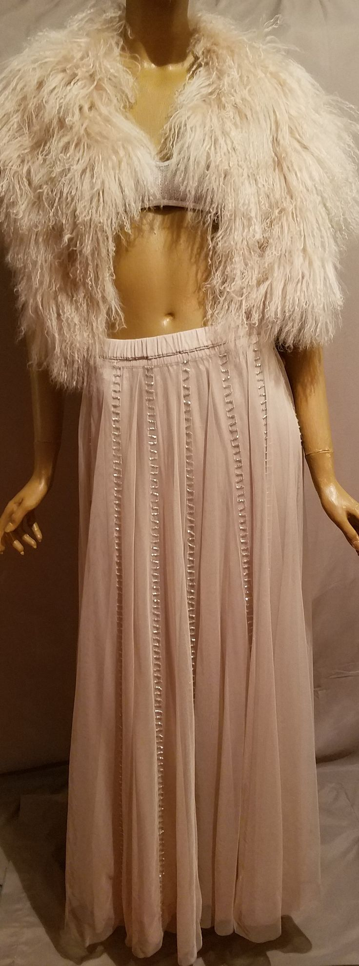 Bich-es     Nude Bich-es Nude Sheer Maxi Skirt by Chan Lu Dreamy  Nude Skirt w Nude Mongolian Crop Jacket and Nude Sequin Bra  Pair the with a Nude Thong Sandal Heel or Flat . Nude Glam Look .Very Rihanna Glam - Very SATC - Very Carrie Bradshaw Glam .Nude Fairytale Glam B That Nude Biche I am that nude biche