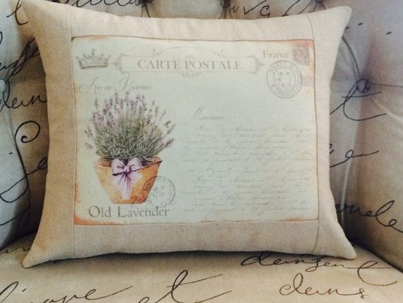 Carte Postale Provence Lavender Flowers Pillow Cover French