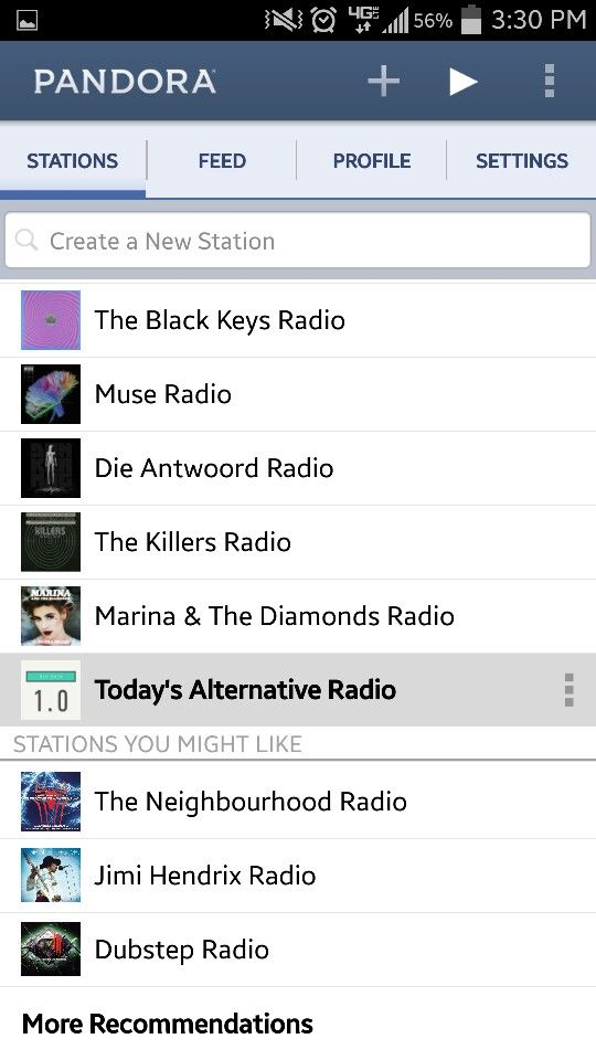 "This is a screenshot of all of my Pandora radio stations. I listen to a wide variety of music that depends heavily upon the type of mood that I'm in. For me, these stations, especially the ""Today's Alternative Radio"" station, represent the music that is important to me. This is what I listen to when I want to relax and have fun, which is a fantastic way to interact with music."