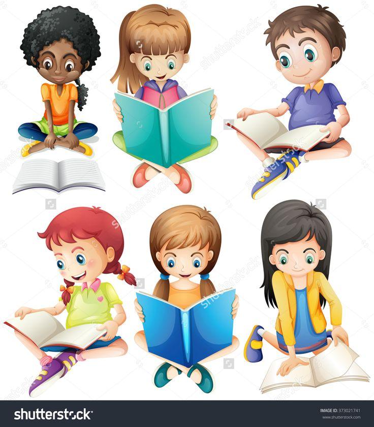 Boys And Girls Reading Books Illustration - 373021741 : Shutterstock