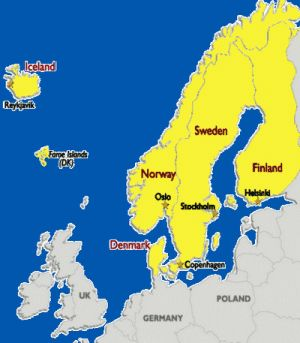 The Essential Scandinavia Travel Guide: On this map, the countries of Scandinavia are highlighted in yellow. Click to zoom.
