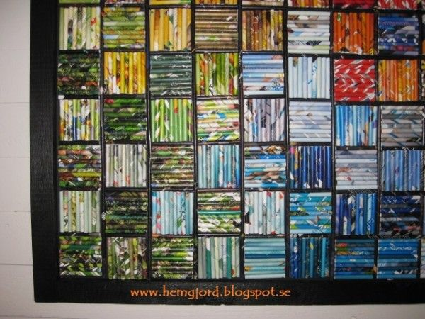 This patchwork is made of recycled rolled up Magazine paper. The size of this wall Art is 110 cmx110 cm. Website: www.hemgjord.blogspot.se ! Submitted by: