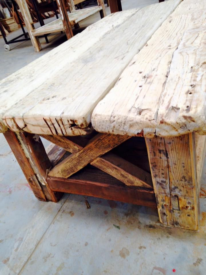 Rustic coffee table in old scaffolding pine. 1200 x 650mm