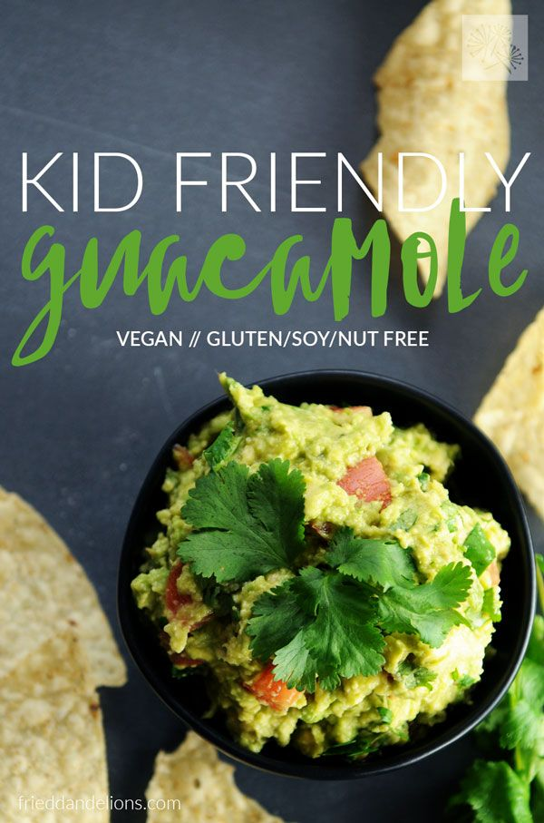 Easy vegan Kid Friendly Guacamole — a must have for any family's recipe repertoire! Quick tips and secret ingredients make this both kid and grown up approved! #vegan #kidfriendly via @frieddandelions
