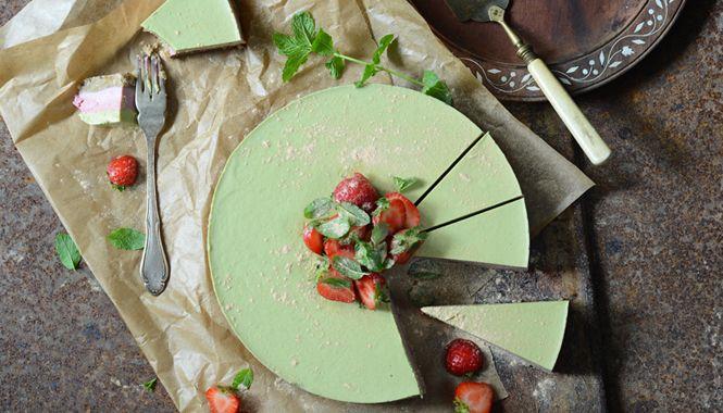 Jahodovo-mátový dort