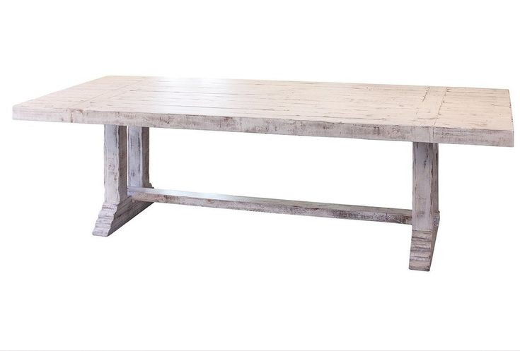 """GREENVIEW 102"""" PEDESTAL DINING TABLE - DISTRESSED WHITE"""