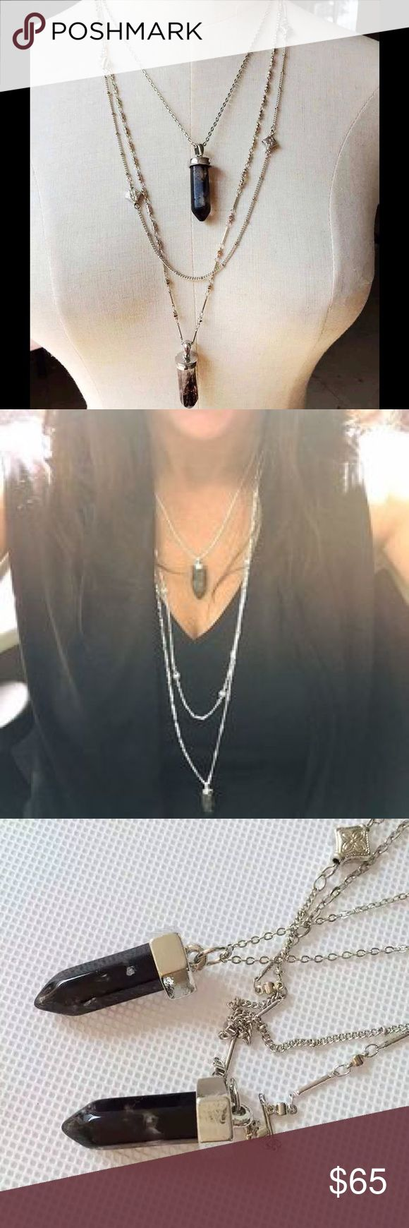 Stella and Dot Aria Black double crystal necklace Sterling silver chain with two black crystal pendants layered necklace legit Stella and Dot comes with dust bag has the Stella and Dot Circle logo tag next to the clasp. Can be worn in several different ways and with anything! I have a pair of large silver Crescent Stella and Dot earrings that would go lovely with this. Normally retails for $98 used, this is brand-new, never worn. Also available in gold and clear crystals. Stella & Dot…