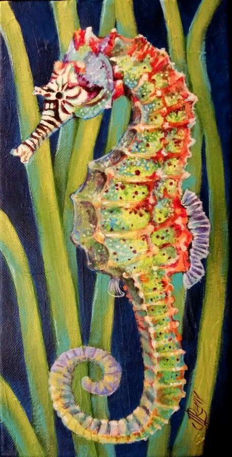 "'Somewhere Over the Rainbow' Seahorse 6"" x 12 "" Acrylic on Gallery Wrapped Canvas By Texas Artist Jennifer Remy Renfrow"