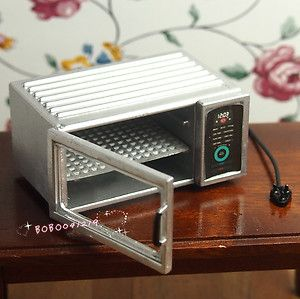 """Dollhouse Miniature 1:12 Toy Kitchen A Metal Microwave Oven.  Size: length 5.1cm  2""""  ; height 2.4cm  1"""" ;  depth 3.4cm   1""""1/3"""