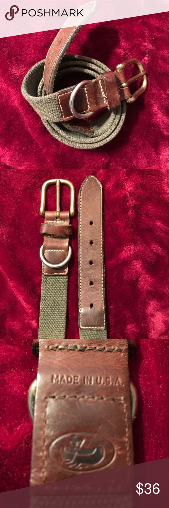 ❤️SALE2DAY❤️Waterman's Canvas & Leather Belt 40 Waterman's Heavy Olive Canvas & Brown Leather Belt w/ Brass Buckle & D-Ring. Man Paddling Canoe maker's mark leather stamp, heavy stitching. Made in USA. Made to last. Size 40 Accessories Belts