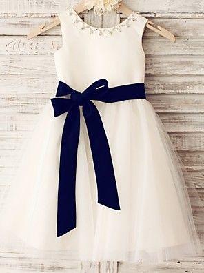 Princess Knee-length Flower Girl Dress - Satin / Tulle Sleeveless Scoop with Beading / Sash / Ribbon – GBP £ 118.90