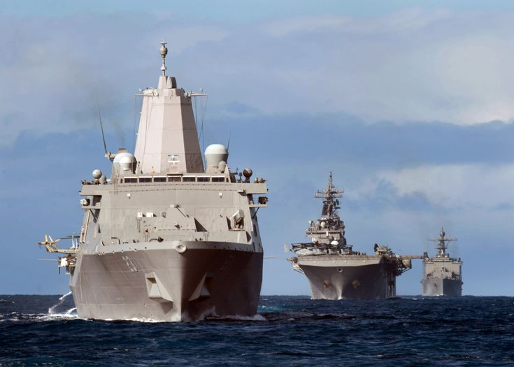 PACIFIC OCEAN (Feb. 28, 2015) The Essex Amphibious Ready Group (ARG) participates in a simulated straits transit. The Essex ARG consists of the Wasp-class amphibious assault ship USS Essex (LHD 2), the San Antonio-class transport dock ship USS Anchorage (LPD 23), and the Whidbey Island-class amphibious landing dock ship USS Rushmore (LSD 47). Essex is underway conducting an amphibious squadron and Marine expeditionary unit integration training exercise with Amphibious Squadron (PHIBRON) 3…