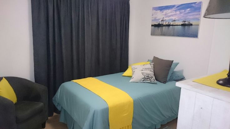 Spare room makeover.  Decor from Mr Price Home and Volpes, but the photo is one I took from the PE Harbour with a Nokia Lumia.