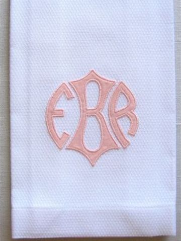 Applique Monogram Guest Towel by Grace Hayes from Grace Hayes Linens