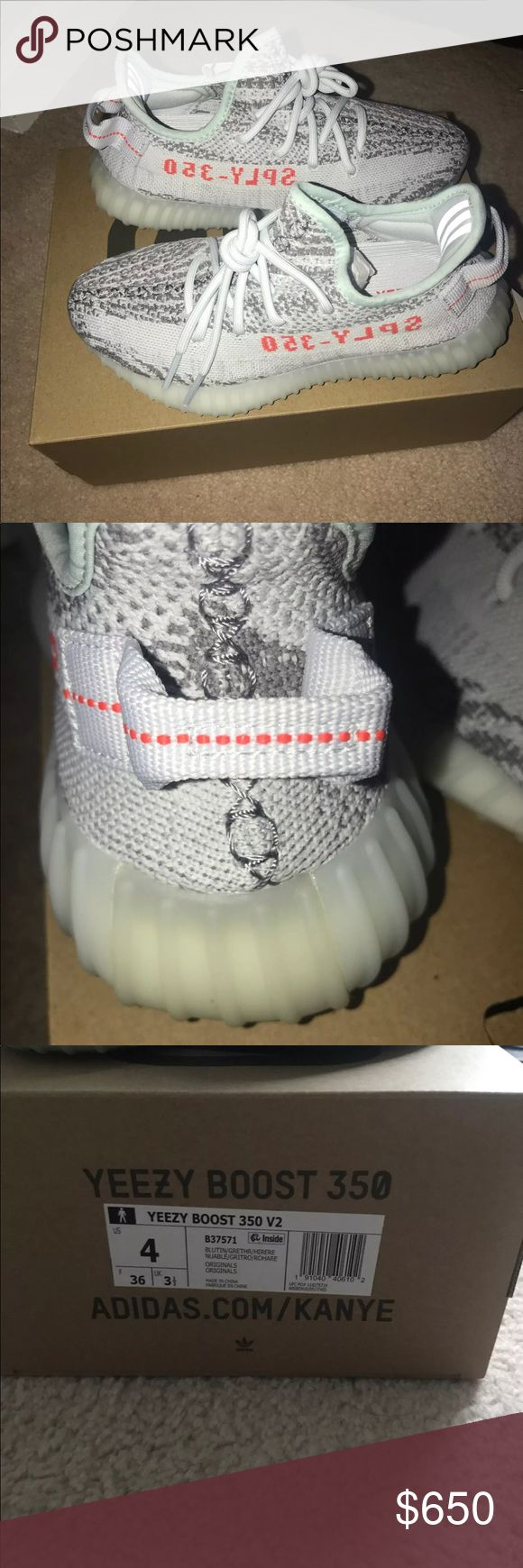 Yeezys by Kanye West Brand new blue tints by Kanye West  Beautiful shoes  Let me know if you guys want additional photos.  Price will be above 500 so you guys can get free authentication so you know ur money isn't going to waste. I do have sizes 4,5,6.5 and 9. Let me know if you want me to post pic for those as well Yeezy Shoes Sneakers