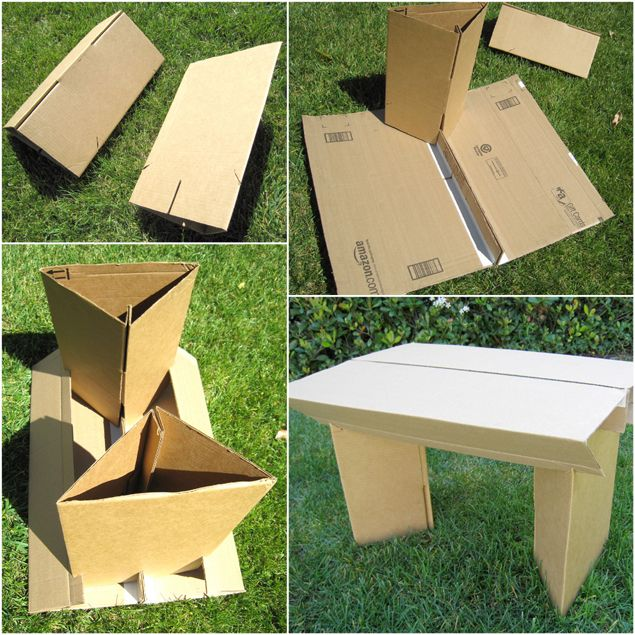 Make Cardboard Furniture: Tutorial on how to make flat pack up-cycled cardboard table & chair, with lots of tips on cardboard construction & design!