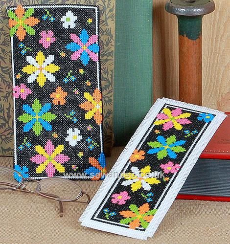 Jazzy Blooms Bookmark and Glasses Case Cross Stitch Kit