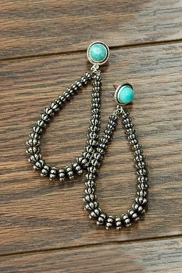 Green Turquoise Silver Plated 5 Grams Earring 1.5 Long Handmade Jewellry Outstanding