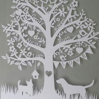 """Create Staff Picks: Valentine's Gifts - Create.net Blog - A one for the family, """"Deluxe Family Tree Papercut"""" by www.thecraftycalf.co.uk - from our #Create #valentines #gift blog post!"""