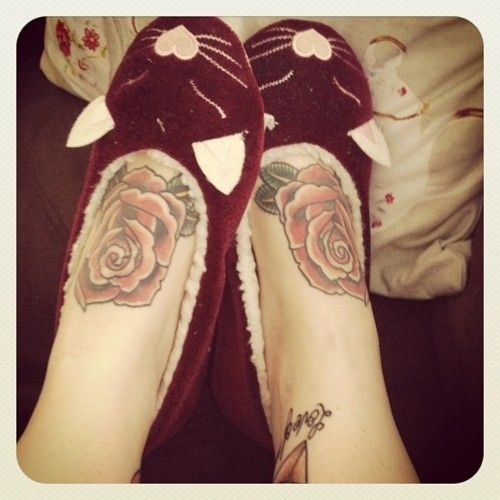 Crazy Red Flowers Tattoos On Ankle