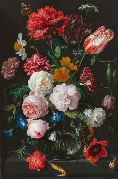 Still Life with Flowers in a Glass Vase, J.Dsz. de Heem (1606 ‐ 1683/84). Rijksmuseum Amsterdam