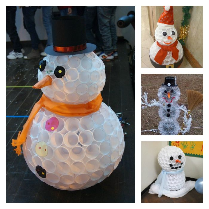 Plastic Cup Snowman Craft. Oooohhh @Amber Iverson  We just might need to make this!!!!!